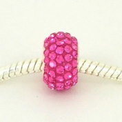 . ROSE Pink Crystals Pave European Charm Bead [Kitchen]