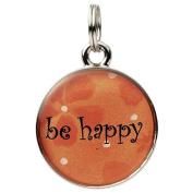 "Round Word Charm - ""be happy"""