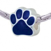 BT1073 tlf - Large Navy Blue Paw - Triple Silver Plated Large Hole Bead