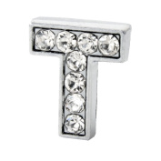 "12x Alphabet Slide Charm, Letter ""T"", 8mm"