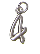 Charm Gallery 77174 Silver Plated Number 4 Charm