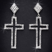 Crystal Rhinestone Cross Earrings, 5.1cm - 1.6cm Long, Crystal/Silver EAR-4023