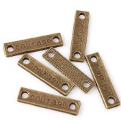 Rectangular Charms Fit Adjustable Rope Bracelet Antique Bronze Connector Courage Symbol 50pcs