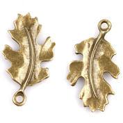 50x Antique Bronze Alloy Charms Leaves Jewellery Making Findings Accessory
