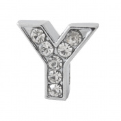 "12x Alphabet Slide Charm, Letter ""Y"", 8mm"
