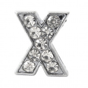 "12x Letter ""X"" Rhinestone Slide Charm,8mm"