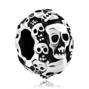 Pugster Silver Tone Halloween Skeleton Skull Bead Fits Pandora Charms Bracelet