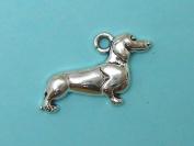 8 Dachshund Charms Tibetan silver wiener dog charm doxie dog charm