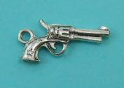 10 Gun Charms Antique Tibetan Silver Tone pistol hand gun charms