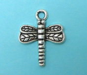 10 Dragonfly Charms Tibetan silver dragonflies charm