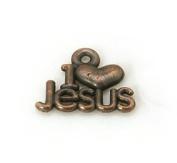 10 Jesus Charms Antique Copper Tone I Love Jesus Charms