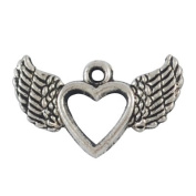 10 Winged Heart Charms Antique Tibetan Silver Tone