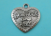 4 Large Rock and Roll Heart Charms Antique Tibetan Silver Tone