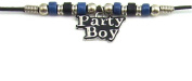 Blue & Black Ceramic Beads with Party Boy Charm