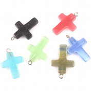 20x Mixed Colour Opal Crosses Charms Findings Fit Jewellery Making