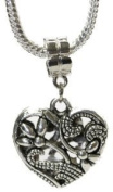 "One (1) Silver Tone ""Hollow Flower & Heart"" Charm for Necklace"