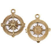 40pcs Compass Antique Bronze Alloy Handmade Charms Jewellery Findings