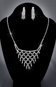 Crystal Rhinestone Necklace Chain and Earring Set, Crystal/Jet/Silver, NEC-2094