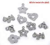 10 Pieces Silver Tone Charms (Flower, Star, Dog, Car, Heart) by Cosmetic Counter