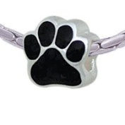 BT1076 tlf - Large Black Paw - Triple Silver Plated Large Hole Bead