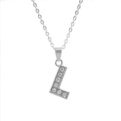 "Rhinestone Charms Necklace with Eyelet, Letter ""L"""