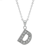 "Rhinestone Charms Necklace with Eyelet, Letter ""D"""