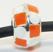 Beads and Dangles European charm metal bead enamel white orange-Fit All Brands Silver Plated Bracelets Beads Charms