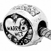""""""" Marry Me."""" W/clear Crystals Charm Bead Fits Pandora Troll Chamilia Kay Compatible"""