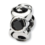 Sterling Silver Reflections 3-Stone Black CZ Bead
