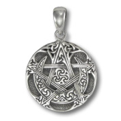 Small Sterling Silver Moon Pentacle Pentagram Pendant by Dryad Design