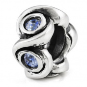 Ohm December BIRTHSTONE Blue Topaz Crystal European Bead