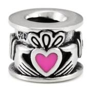 .925 Silver Pink Enamel CZ Claddah Irish Love Fits Ohmbeads Pandora Bracelet