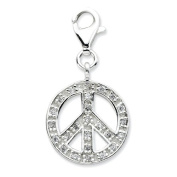 Sterling Silver Click-on CZ Polished Peace Charm - Measures 27x14mm - JewelryWeb