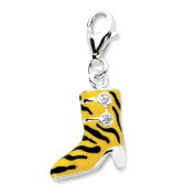 Sterling Silver Click-on CZ Enamel Tiger High Heel Boot Charm - Measures 27x6mm - JewelryWeb