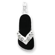 Sterling Silver Black Enamelled Crystal Flip Flop Charm