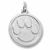 Rembrandt Charms, Paw Print Charm in Solid Sterling Silver or Gold, Engravable