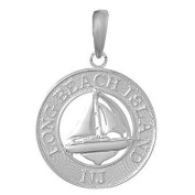 925 Solid Sterling Silver Charm Long Beach Island, Nj On Round Frame Sailboat