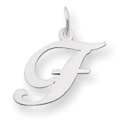 14k White Gold Medium Fancy Script Initial F Charm Gold Wt- 0.5g.