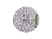 Zable (tm) Sterling Silver Pave Crystal Birthstone - April Pandora Compatible Bead / Charm