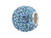 Zable (tm) Sterling Silver Pave Crystal Birthstone - December Pandora Compatible Bead / Charm