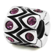 Sterling Silver February Crystal Drum European Bead