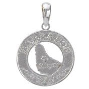 925 Solid Sterling Silver Travel Necklace Charm Pendant, Barbados On Round Frame
