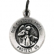 11.8mm Round Guardian Angel Medal in Sterling Silver