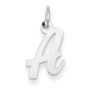 14k White Gold Small Script Initial A Charm - Measures 15.3x10.8mm - JewelryWeb