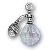 Sterling Silver 3D. Crystal Aromatherapy Perfume Atomizer Bottle Charm