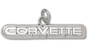 C4 Generation Corvette 0.5cm Script Logo Charm - Sterling Silver Jewellery