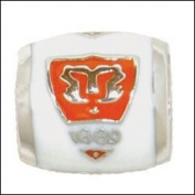CLEMSON School Crest on White Sterling Silver European College Charm Bead