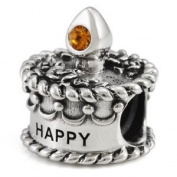 Ohm November Birthstone Crystal Birthday Cake European Bead