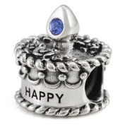 Ohm September Birthstone Crystal Birthday Cake European Bead