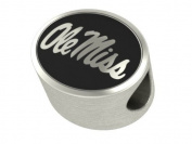Ole Miss Rebels Bead Fits Most Pandora Style Bracelets Including Pandora, Chamilia, Biagi, Zable, Troll and More. High Quality Bead in Stock for Immediate Shipping